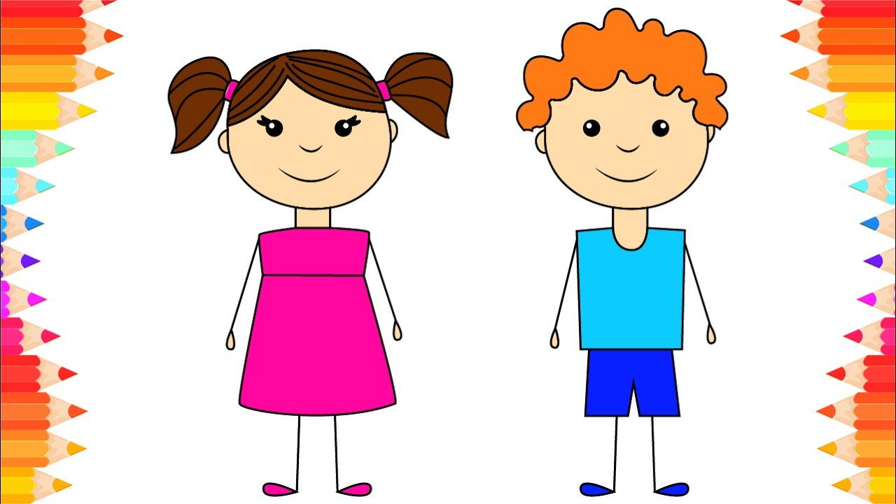 1280x720 How to Draw Boy and Girl for Kids. DIY Coloring Pages for Children