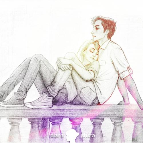 500x500 Art, Boy, Couple, Cute, Drawing
