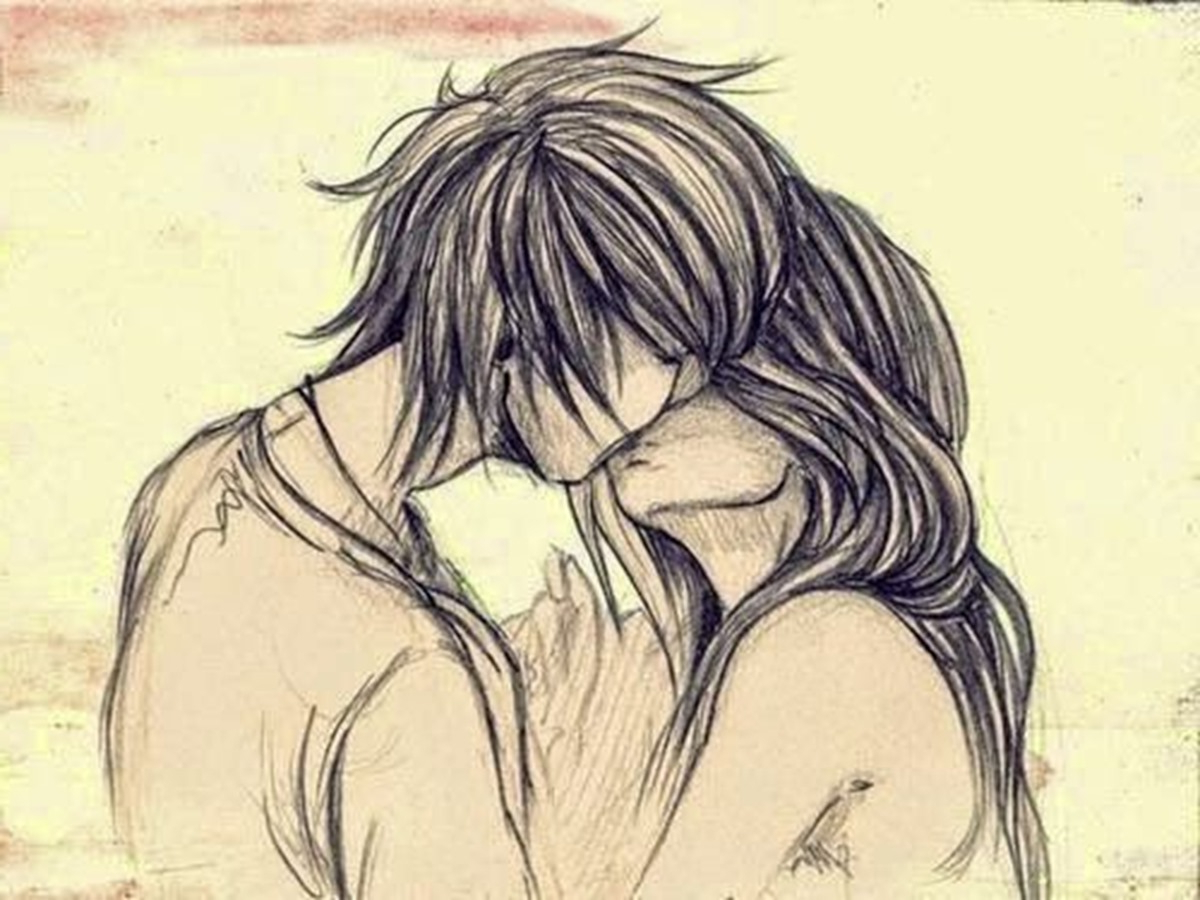 boy and girl kissing drawing at getdrawings | free for personal