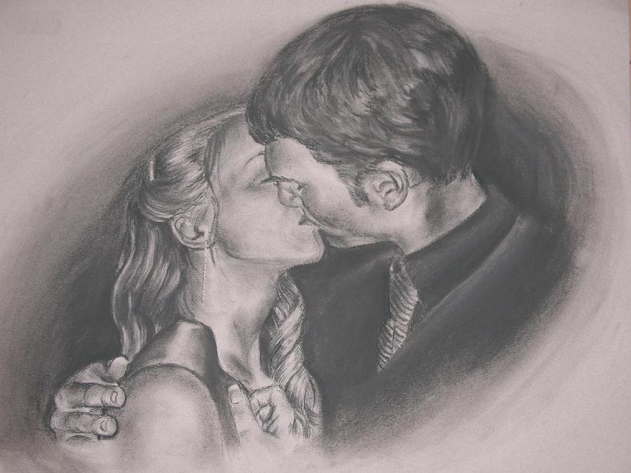 900x675 The Kiss Drawing By Kate Westfall