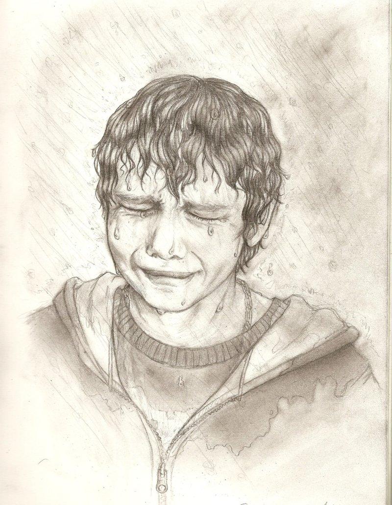 800x1032 Boy Crying Pencil Sketch In Hd Drawn Boy Rain Sketch