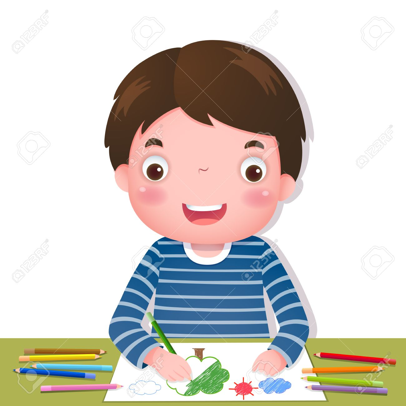 1300x1300 Illustration Of Cute Boy Drawing With Colourful Pencils Royalty