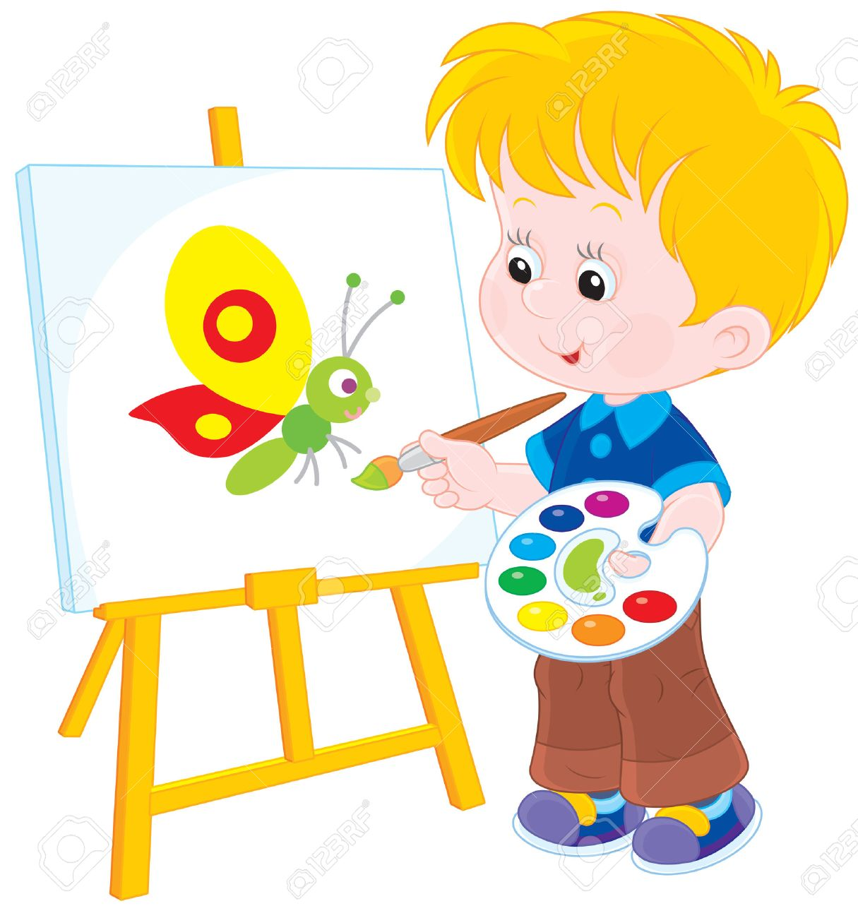 1215x1300 Boy Drawing A Picture With A Funny Butterfly Royalty Free Cliparts