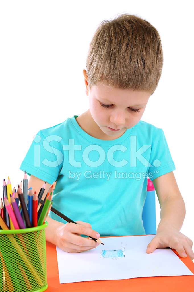 682x1024 Little Boy Drawing Isolated On White Stock Photos