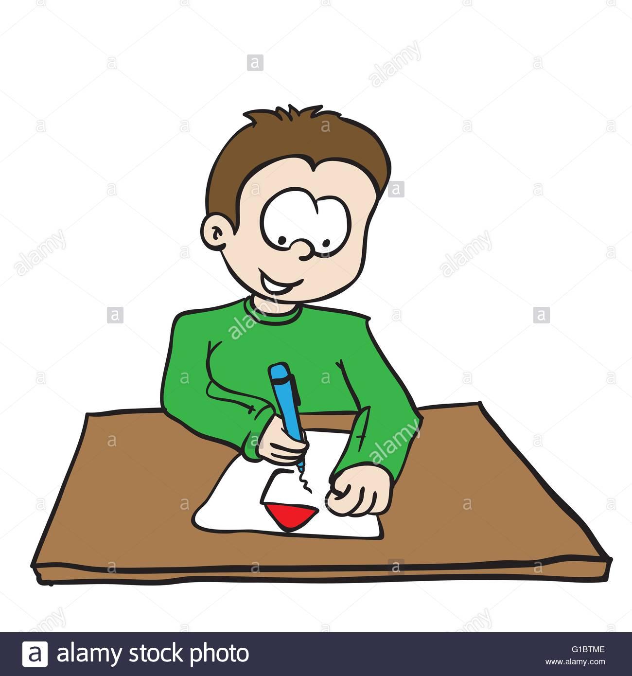 1300x1390 Little Boy Drawing A House Cartoon Stock Vector Art Amp Illustration