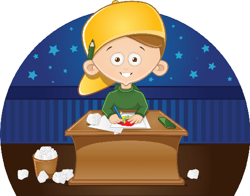 509x399 Cartoon Cute Little Boy Drawing A Picture In His Room Clipart
