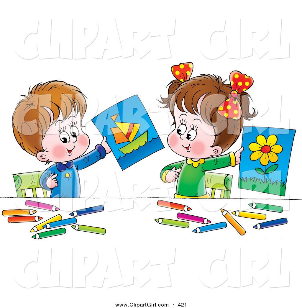 1024x1044 Cliprt Little Boynd Girl Holding Up Their Drawings