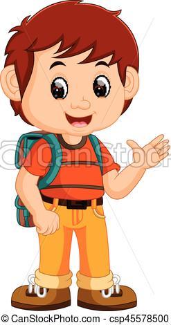 247x470 Cute Boy With Backpack Cartoon Vector Clipart