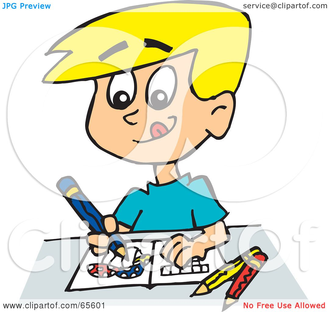 1080x1024 Royalty Free (Rf) Clipart Illustration Of A Blond Boy Drawing