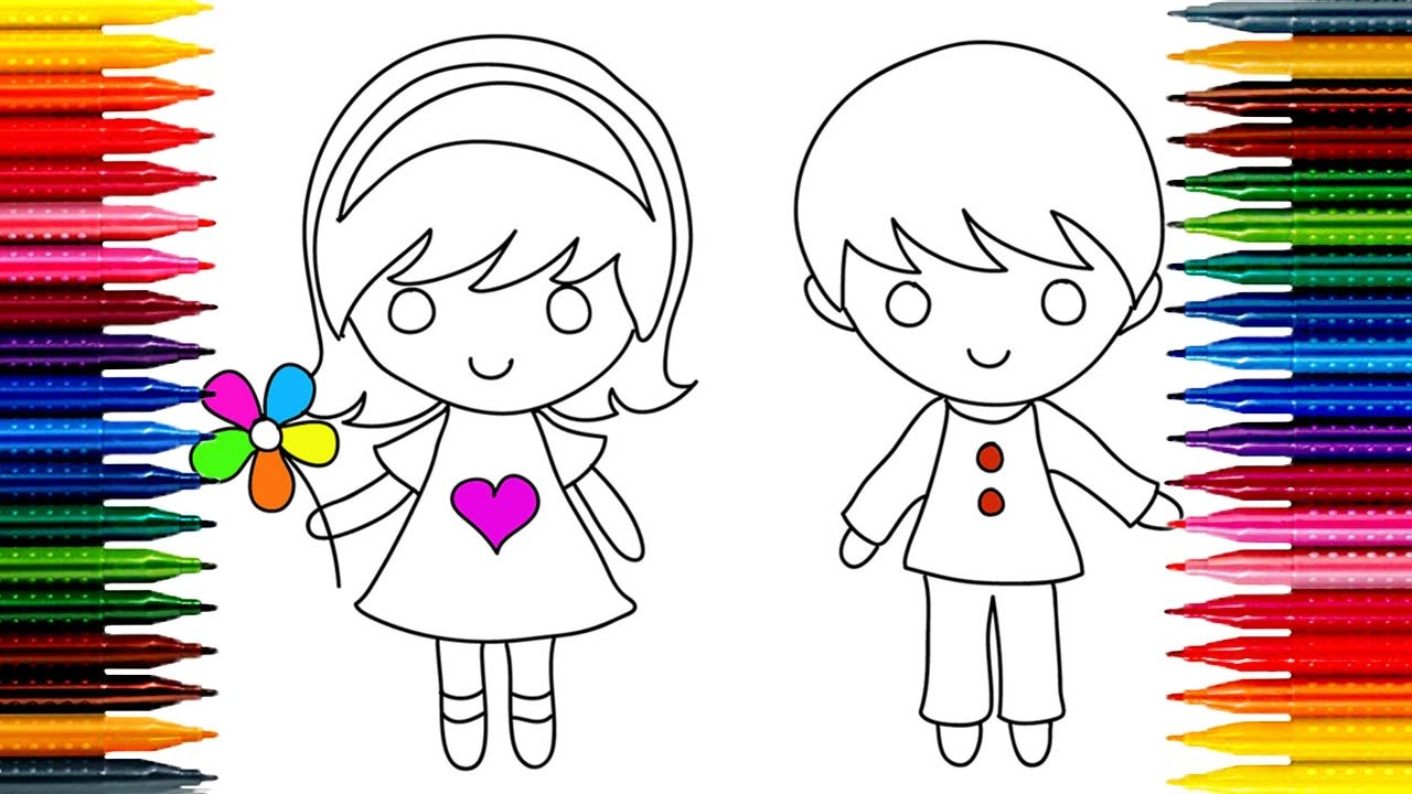 1280x720 How To Draw Kids! Girl Amp Boy Simple Drawing And Coloring