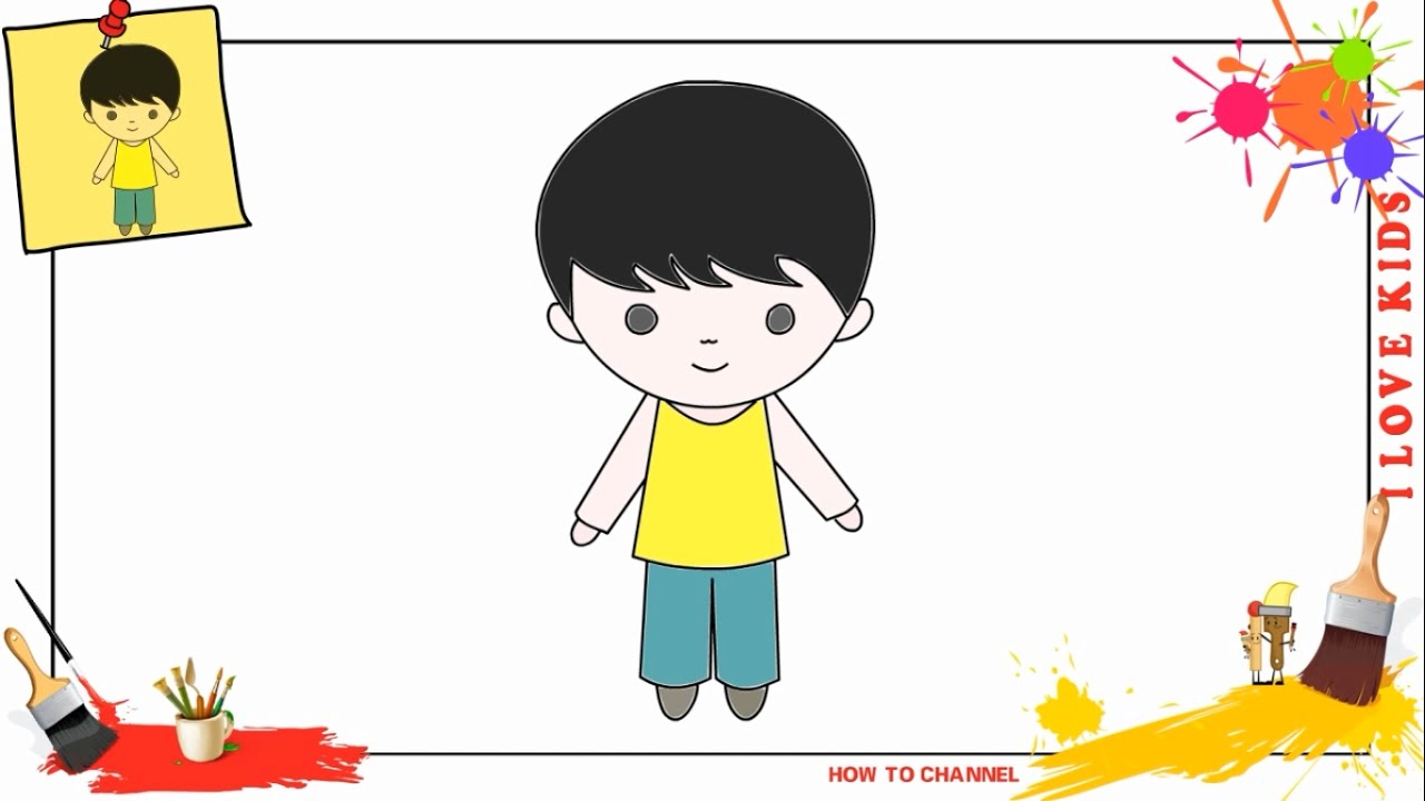1280x720 How To Draw The Boy Draw A Boy For Kids, Stepstep, Drawing Sheets