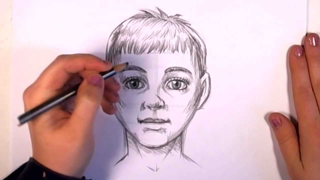 1280x720 Boy Face Drawing Pic