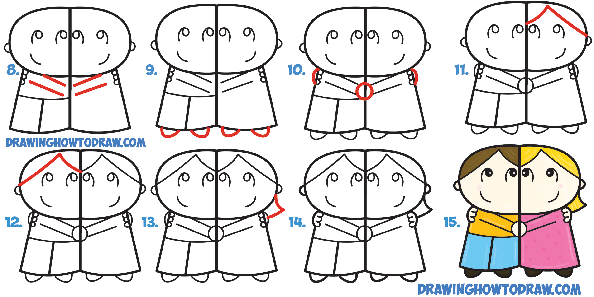 2500x1252 How To Draw Cartoon Couple (Girl And Boy) Hugging From Letter R