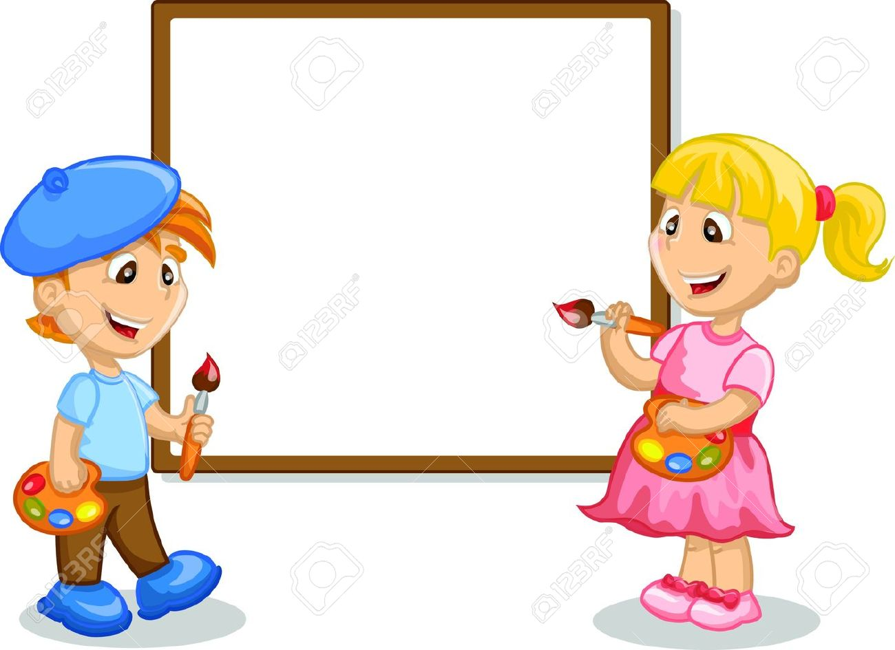 1300x945 Boy And Girl Drawing On The Easel Royalty Free Cliparts, Vectors