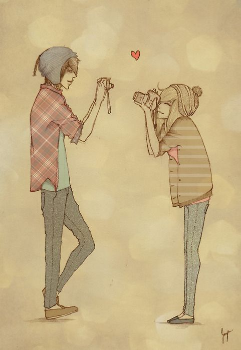 481x699 Boy Camera Couple Cute Drawing Girl 108640 Large Four