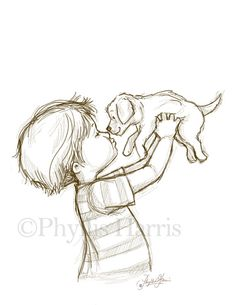 236x305 Sketch Illustration Of A Puppy And Little Boy Or Little Girl