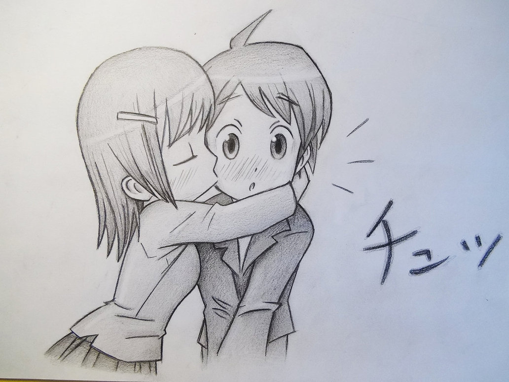 1032x774 Anime Sketch Girl And Boy Boy And Girl Anime Sketch Drawing Cute