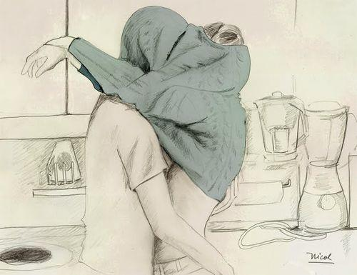 500x385 Boy, Couple, Cuddle, Cute, Drawing, Girl, Hot, Hug, Jumper, Kiss