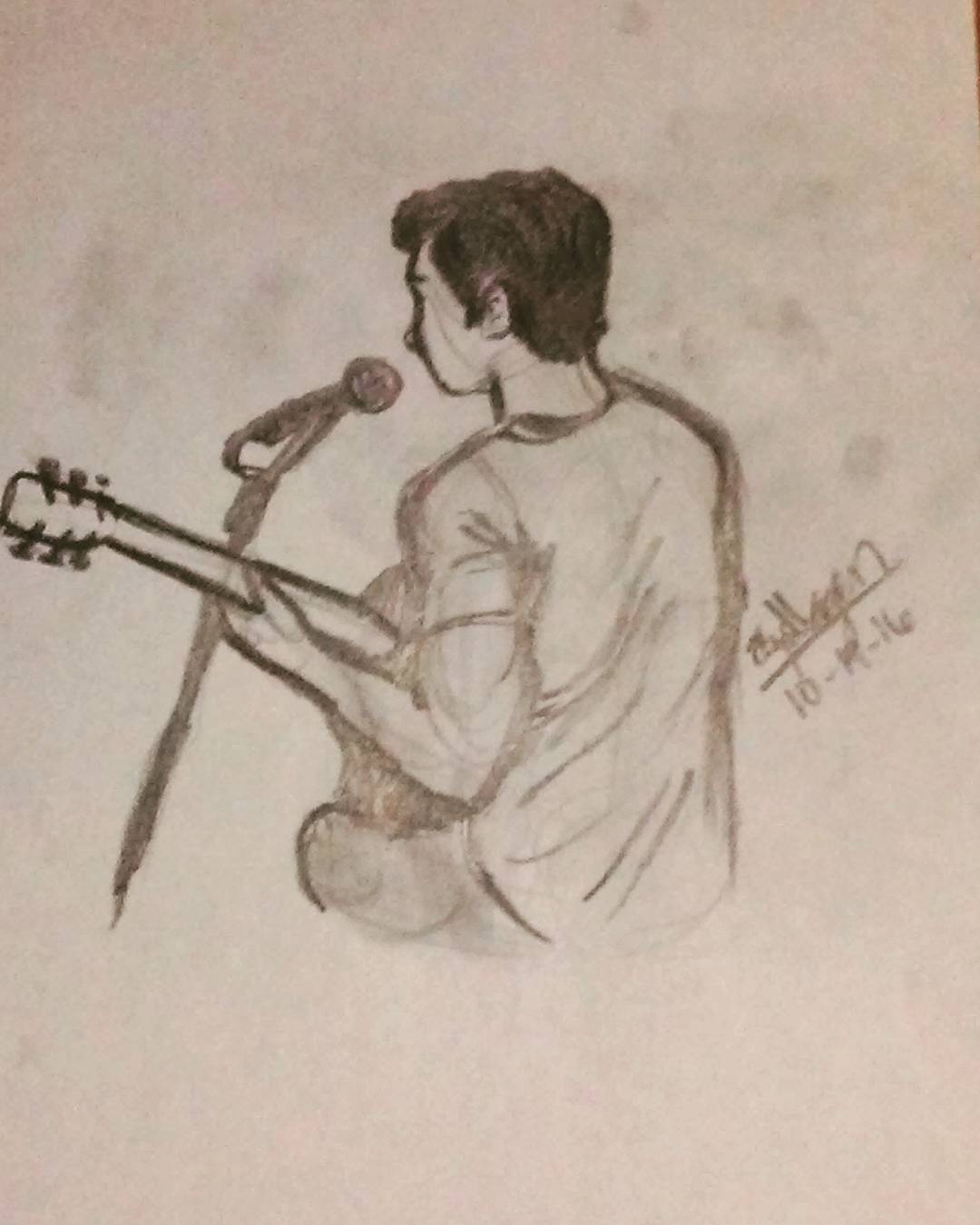 1080x1350 Boy With Guitar. Singer. Musician. Based On Joey Barreiro. Pencil