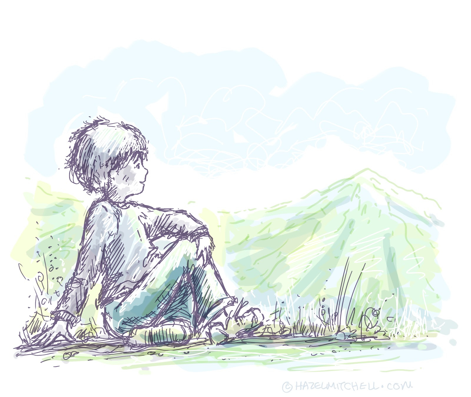 1600x1349 sketch of a boy sitting alone sad alone boy drawing