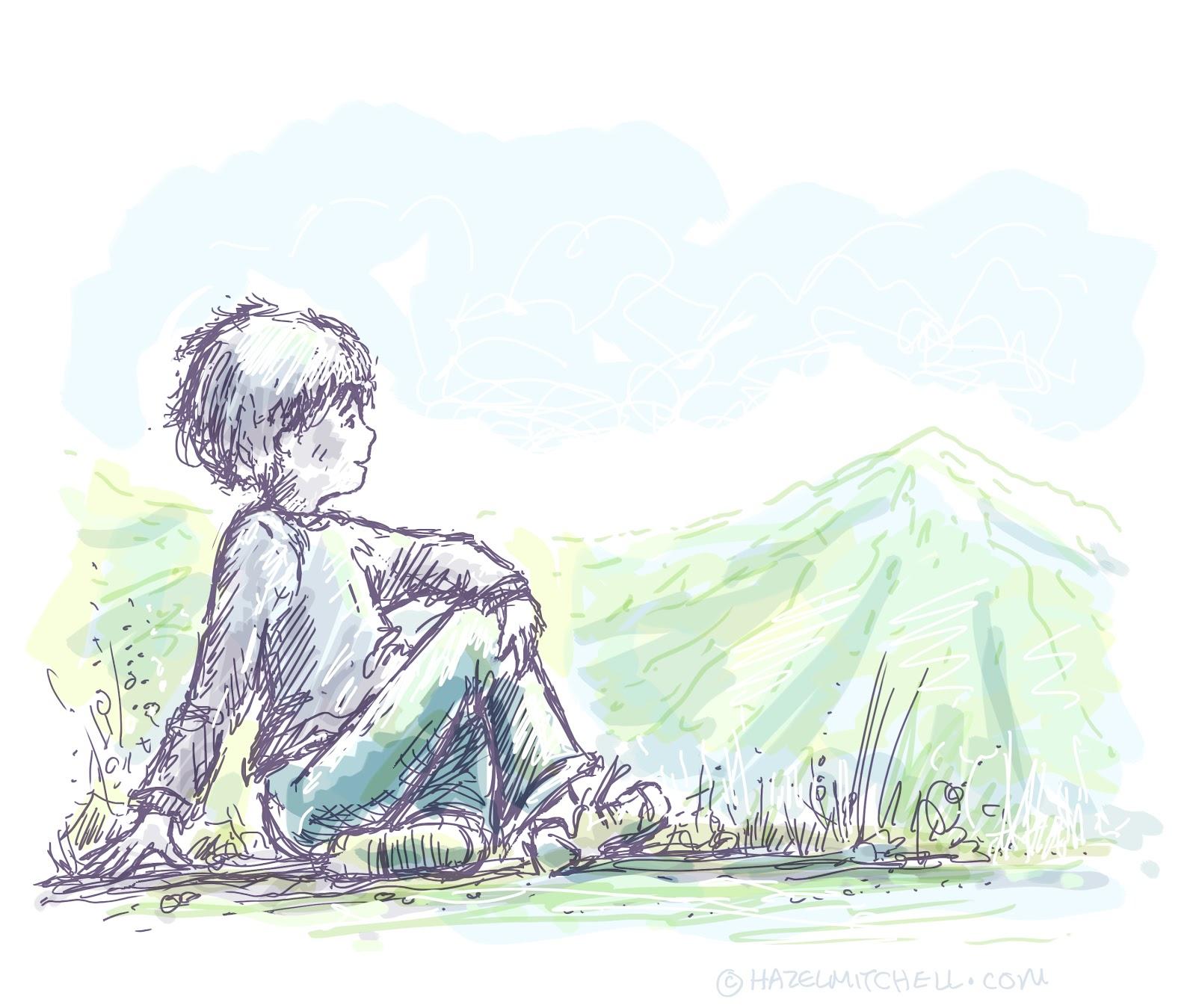 1600x1349 sketch of a boy sitting alone sad alone boy drawing