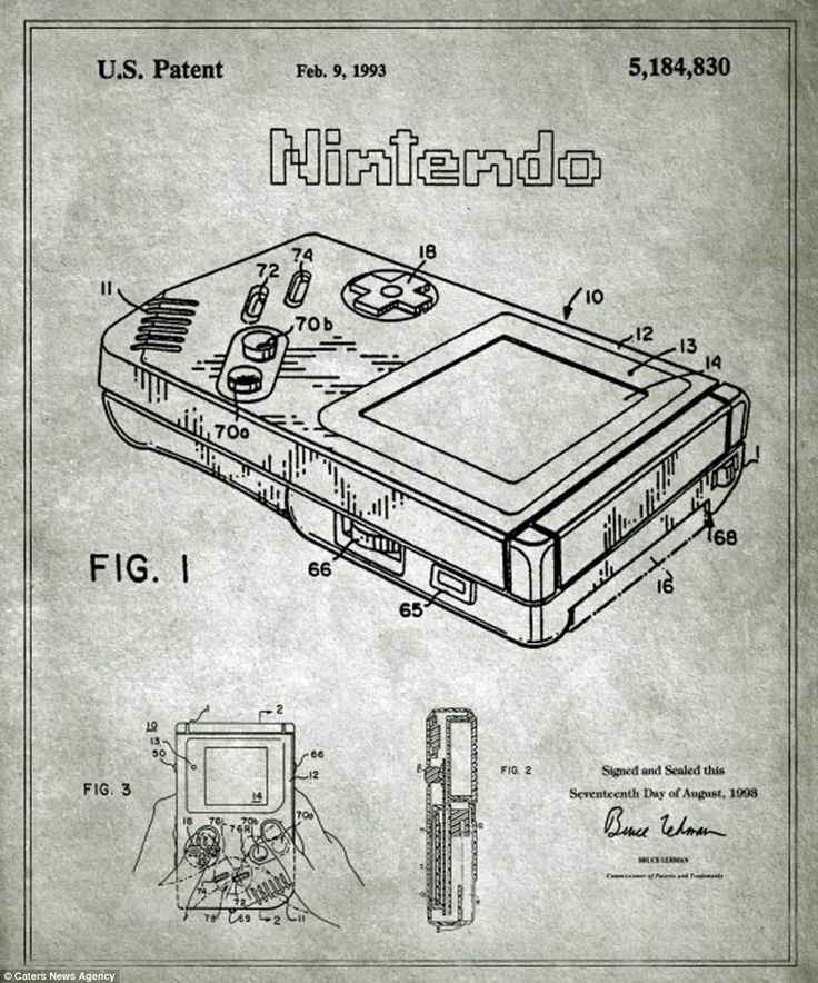 736x884 Nintendo's Game Boy Original Blueprint. Back In The Day
