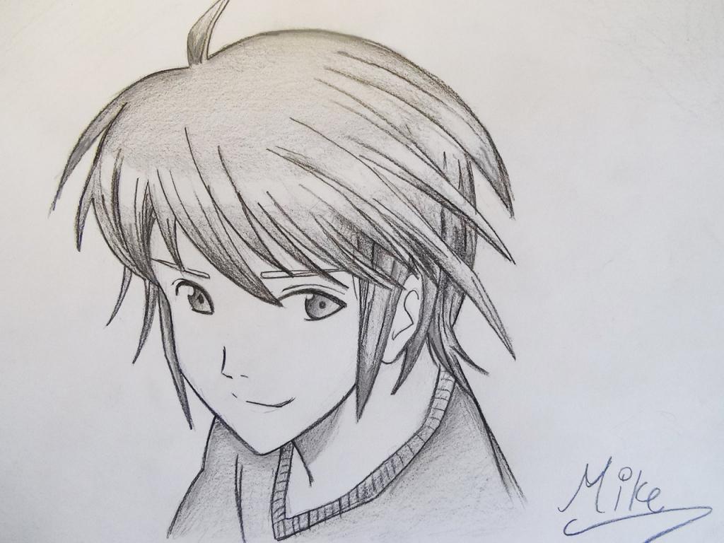 1024x768 Pencil Sketch Cartoon Boys Cartoon Boy Face Sketches Drawing Manga