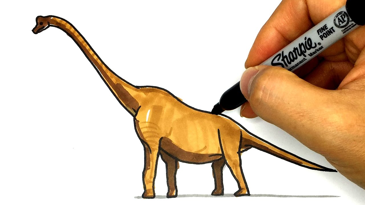 1280x720 How To Draw Brachiosaurus Dinosaurs Drawing Tutorial For Kids