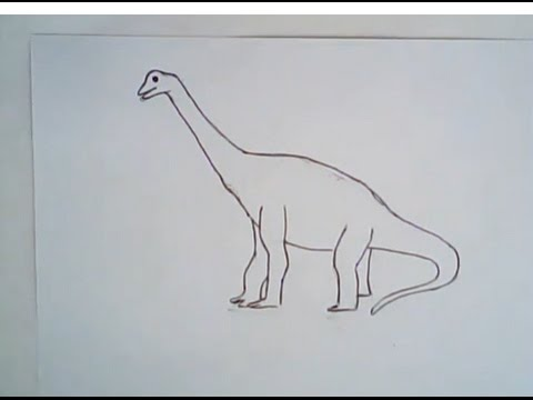 480x360 How To Draw A Brachiosaurus (Easy, Simple Art Lesson)