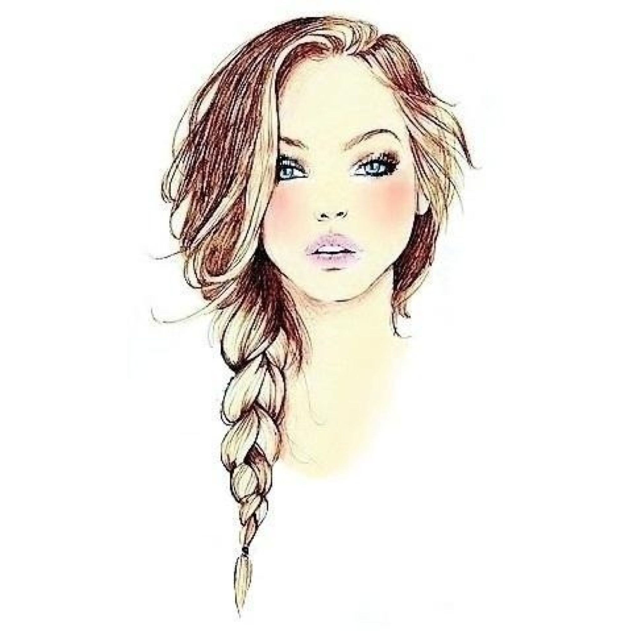 2048x2048 Braided Hair Drawing Draw Girl With Braids Beautiful