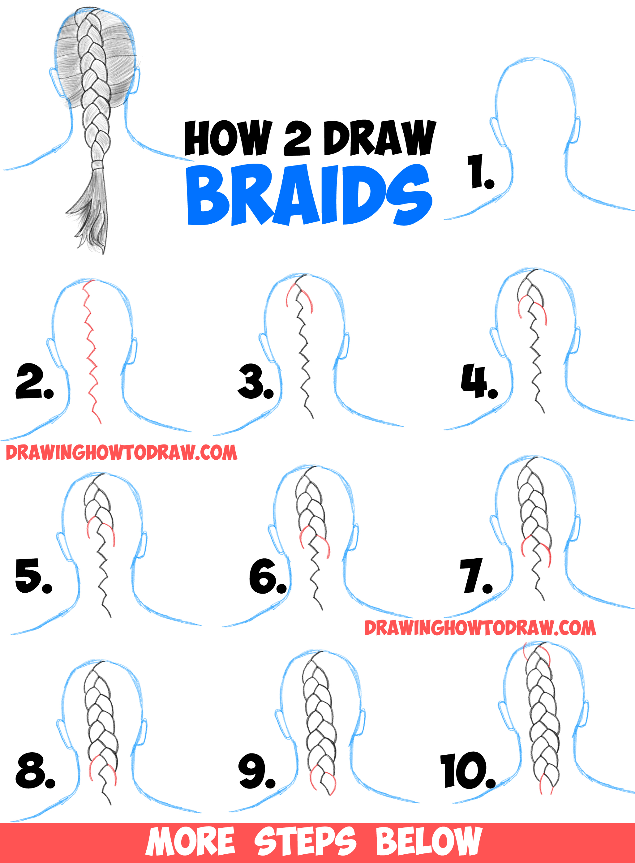 2053x2790 How To Draw Braids With Easy Step By Step Drawing Tutorial
