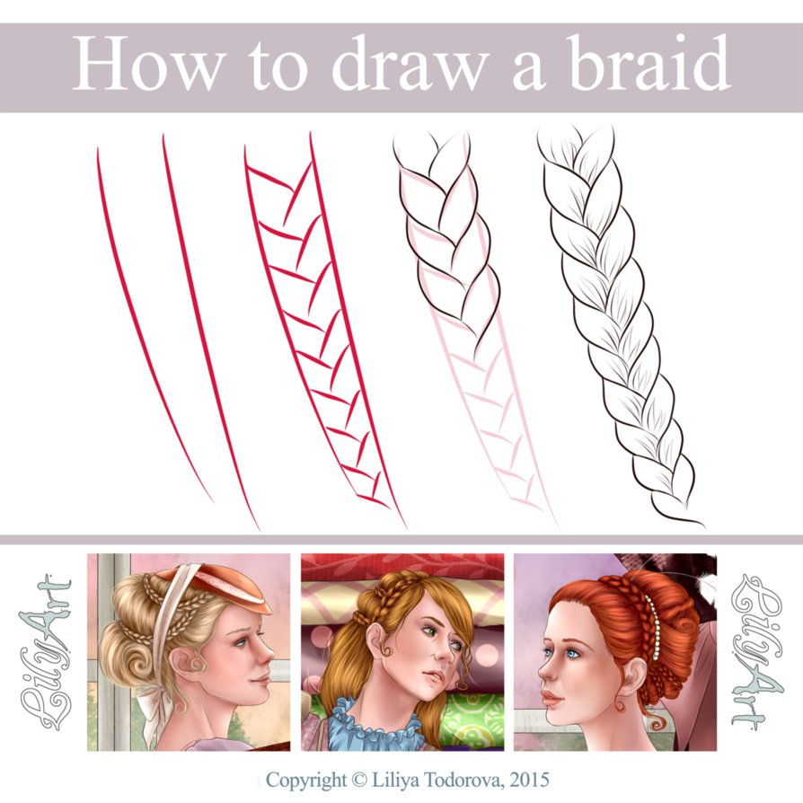 894x894 How To Draw A Braid By Lilyt Art
