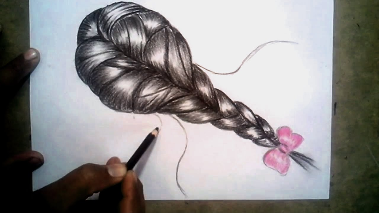 1280x724 How To Draw Realistic Braids Hair With Charcoal Pencil