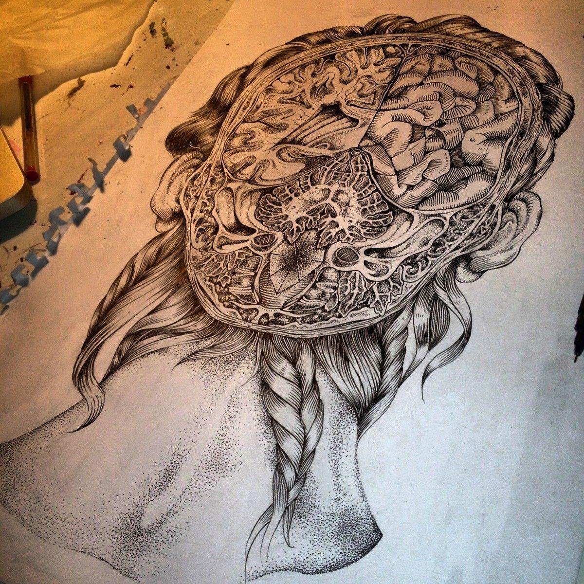 1200x1200 Brain Drawing Art