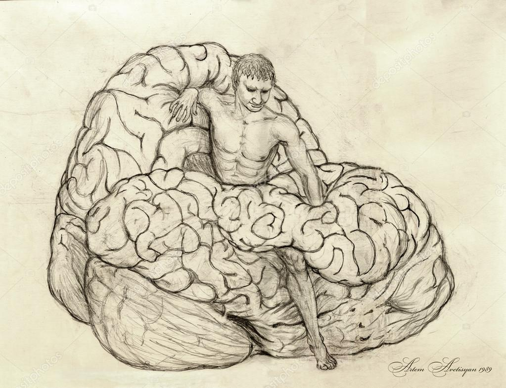 1023x786 Surreal Pencil Drawing Of Man Scrambled Out From A Huge Brain