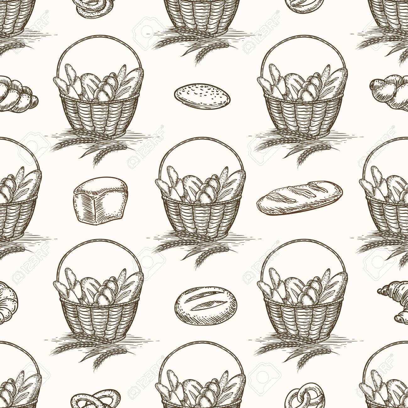 1299x1300 Baked Goods Seamless Pattern. Vector Bread Basket And Buns