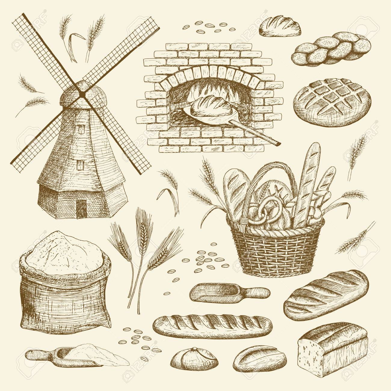 1300x1300 Vector Hand Drawn Bakery Illustration Collection. Windmill, Oven