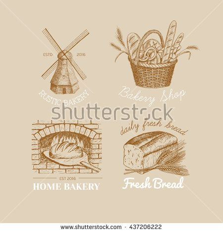 450x470 Vector Hand Drawn Bakery Logos, Badges, Emblems Collection