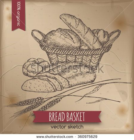 450x470 Vintage Bread Basket Template Placed On Old Paper Background