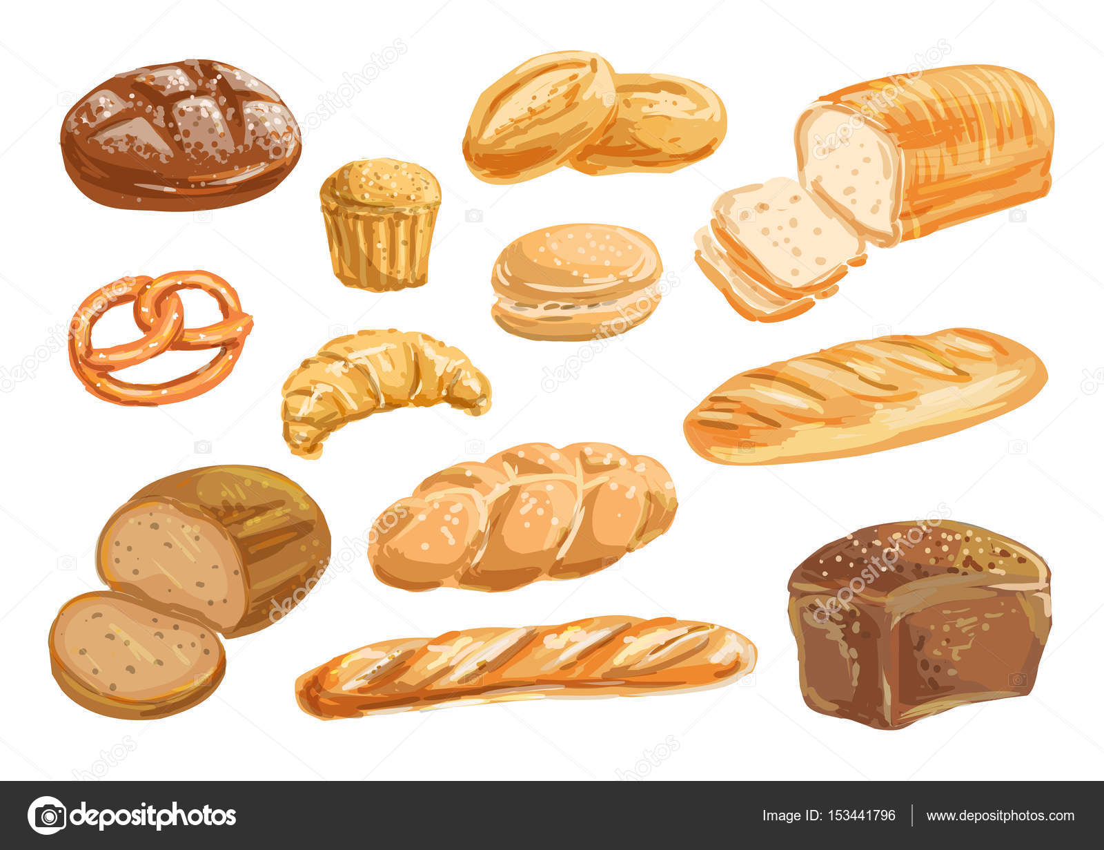 1600x1231 Bread And Bakery Product Watercolor Drawing Set Stock Vector