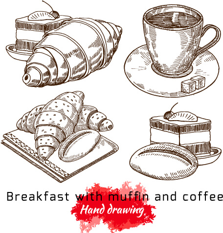 456x477 Hand Drawing Breakfast With Muffin And Coffee Vector Free Vector