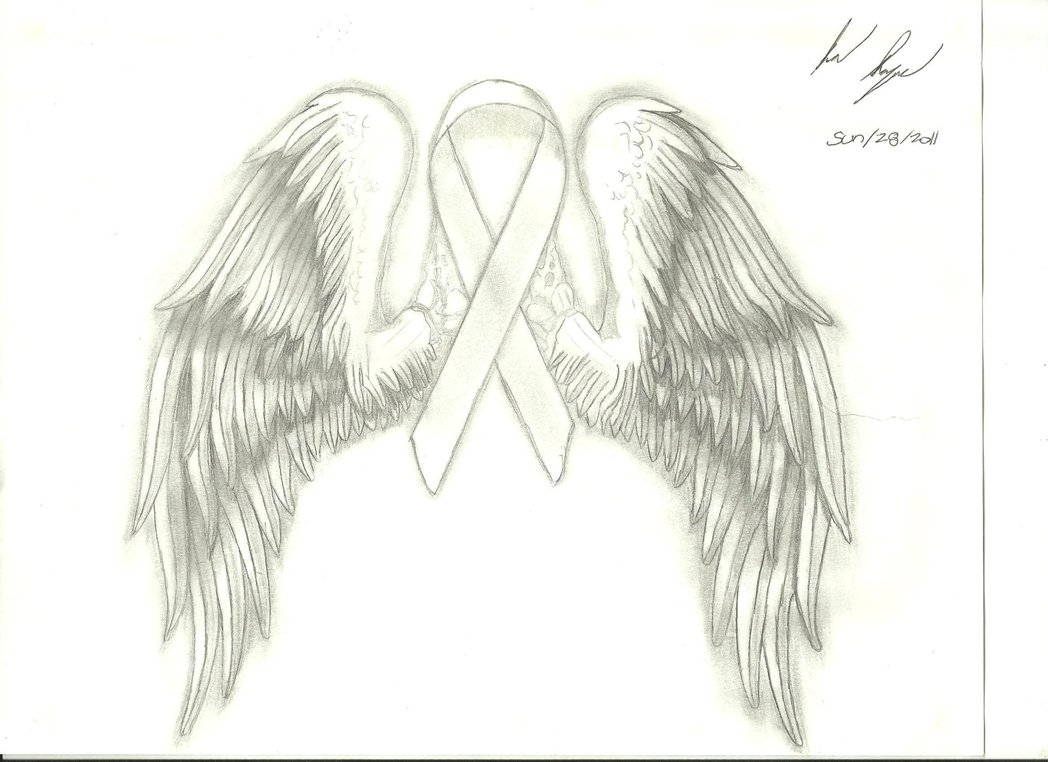 1048x762 Breast Cancer Ribbon With Wings By Naageson95