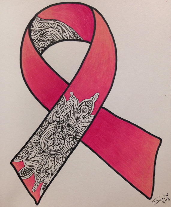 570x688 Print Of Breast Cancer Ribbon Zentangle Matted Print