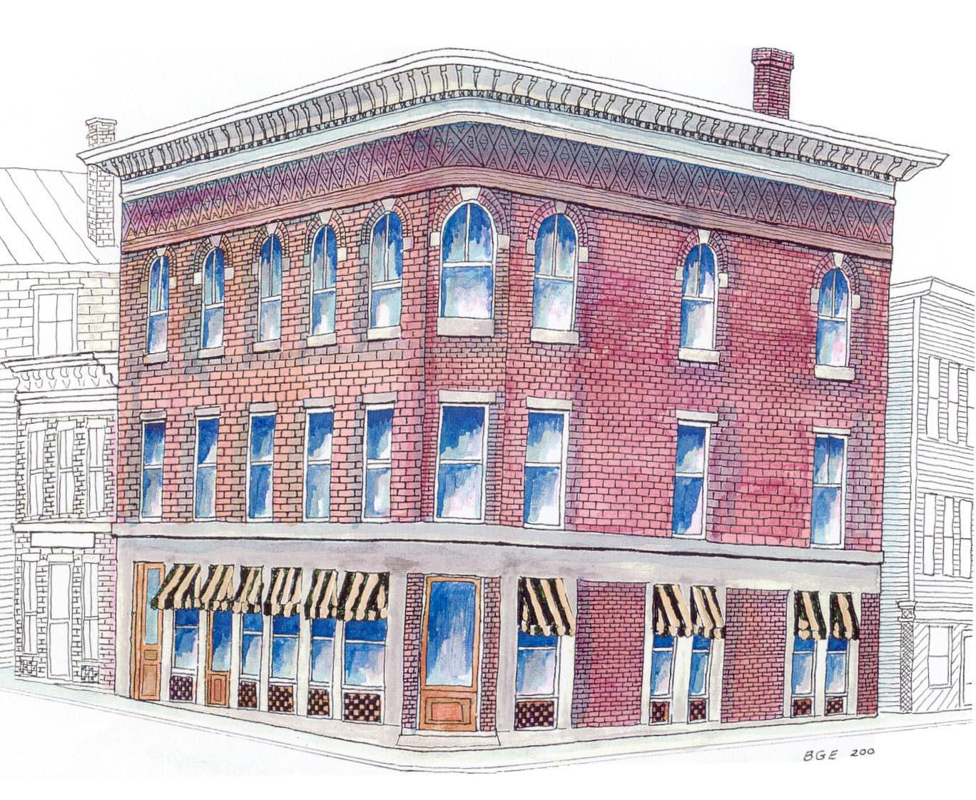 1368x1121 Brick Building Drawing