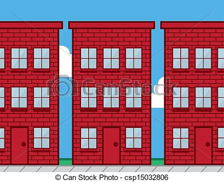 450x367 Buildings Red Brick Red Brick Buildings With Sidewalk Vector