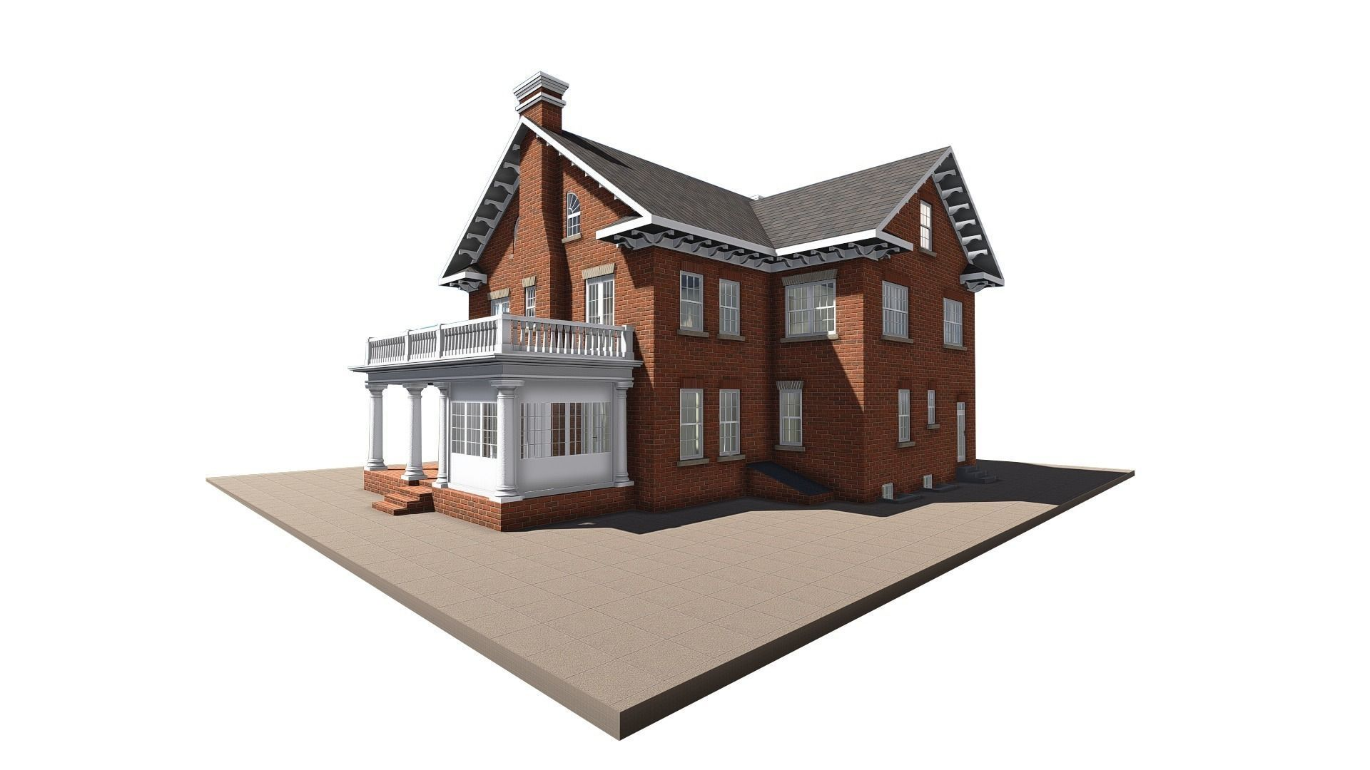 1920x1080 Old Brick House 3d Model Cgtrader