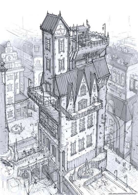 564x797 Old Building Sketch, Line Drawing, Black White, Stone