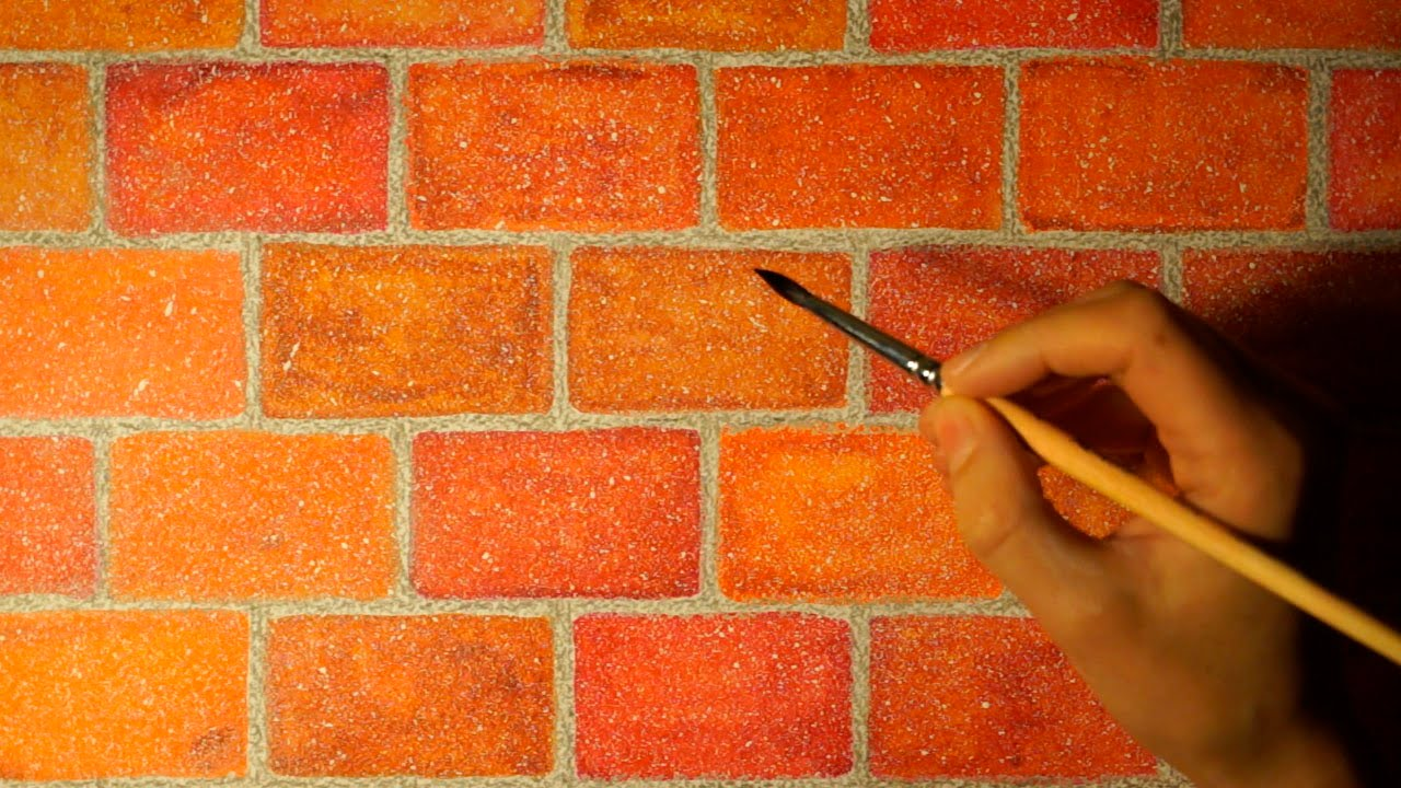 1280x720 Drawing Realistic Brick Wall In Watercolor. Easy And Simple.