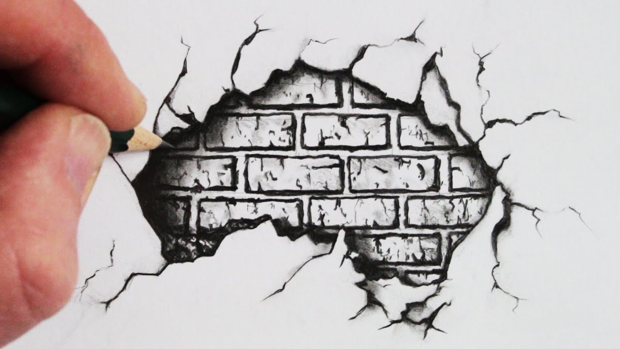 1280x720 How To Draw A Cracked Brick Wall Pencil Drawing