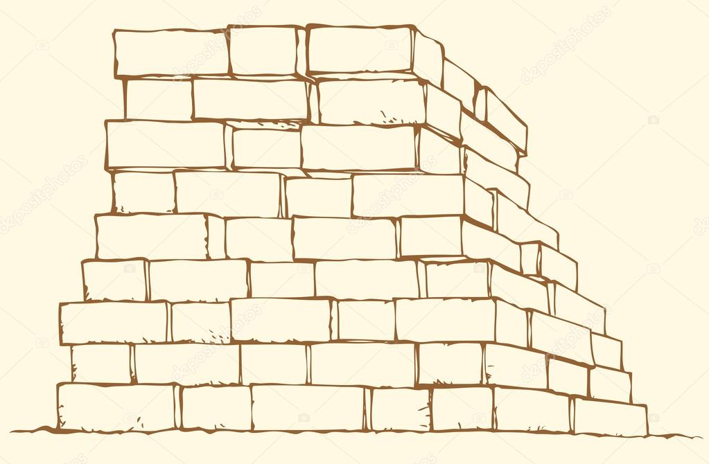 1023x670 Vector Monochrome Drawing. Stack Of Bricks Stock Vector